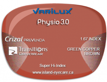 Varilux Physio 3.0 1.67 Crizal Prevencia Transitions Drivewear  - Green Copper Brown