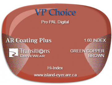 VP Choice Pro PAL Digital 1.60 AR Coating Plus Transitions Drivewear - Green Copper Brown