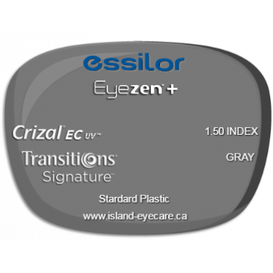 Essilor Eyezen 1.50 Crizal EC UV Transitions Signature - Gray