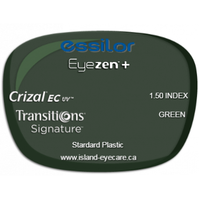 Essilor Eyezen 1.50 Crizal EC UV Transitions Signature - Green