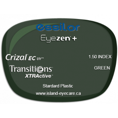 Essilor Eyezen 1.50 Crizal EC UV Transitions XTRActive - Green