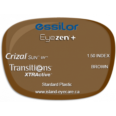 Essilor Eyezen 1.50 Crizal Sun UV Transitions XTRActive - Brown