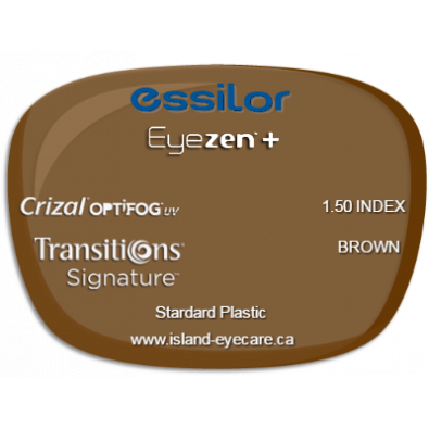 Essilor Eyezen 1.50 Crizal UV with Optifog Transitions Signature - Brown