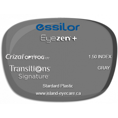 Essilor Eyezen 1.50 Crizal UV with Optifog Transitions Signature - Gray