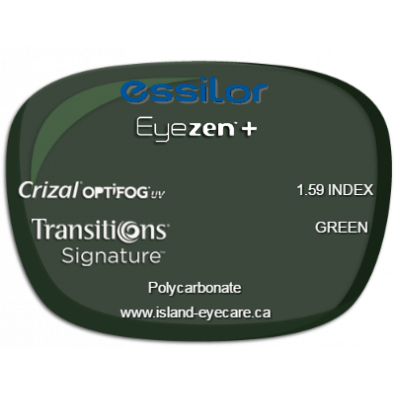 Essilor Eyezen 1.59 Crizal UV with Optifog Transitions Signature - Green