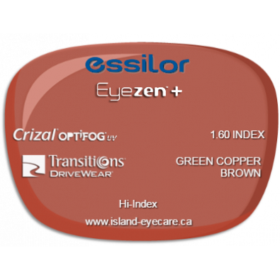 Essilor Eyezen 1.60 Crizal UV with Optifog Transitions Drivewear  - Green Copper Brown