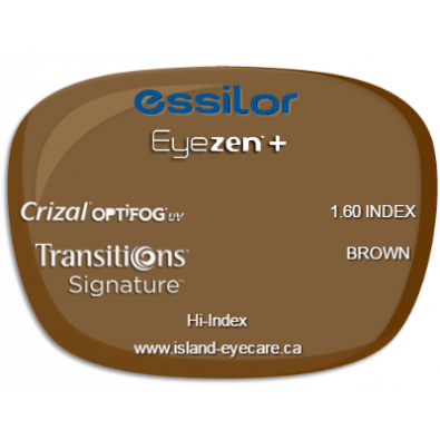 Essilor Eyezen 1.60 Crizal UV with Optifog Transitions Signature - Brown