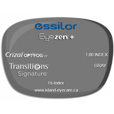 Essilor Eyezen 1.60 Crizal UV with Optifog Transitions Signature - Gray
