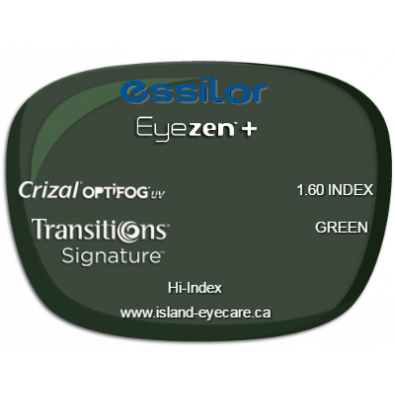 Essilor Eyezen 1.60 Crizal UV with Optifog Transitions Signature - Green