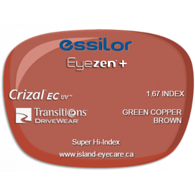 Essilor Eyezen 1.67 Crizal EC UV Transitions Drivewear  - Green Copper Brown