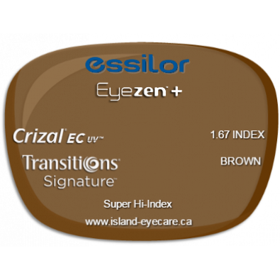 Essilor Eyezen 1.67 Crizal EC UV Transitions Signature - Brown
