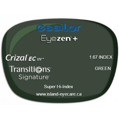 Essilor Eyezen 1.67 Crizal EC UV Transitions Signature - Green