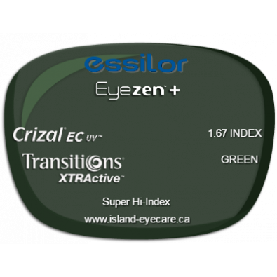 Essilor Eyezen 1.67 Crizal EC UV Transitions XTRActive - Green