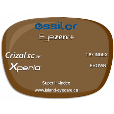 Essilor Eyezen 1.67 Crizal EC UV Xperio - Brown