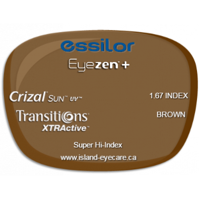Essilor Eyezen 1.67 Crizal Sun UV Transitions XTRActive - Brown
