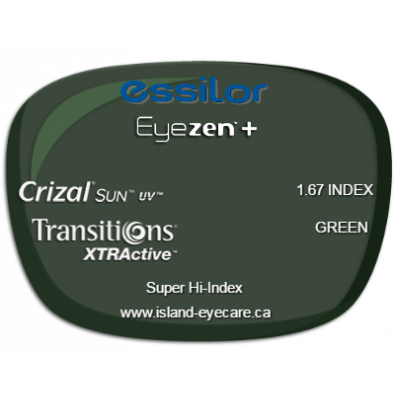 Essilor Eyezen 1.67 Crizal Sun UV Transitions XTRActive - Green