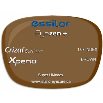 Essilor Eyezen 1.67 Crizal Sun UV Xperio - Brown