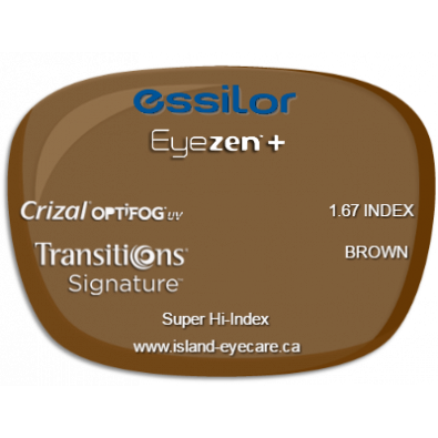 Essilor Eyezen 1.67 Crizal UV with Optifog Transitions Signature - Brown