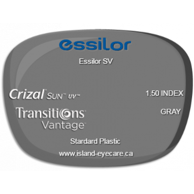 Essilor SV 1.50 Crizal Sun UV Transitions Vantage - Gray
