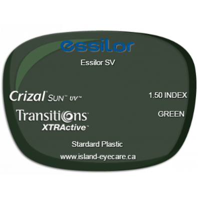 Essilor SV 1.50 Crizal Sun UV Transitions XTRActive - Green