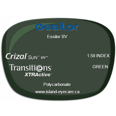 Essilor SV 1.59 Crizal Sun UV Transitions XTRActive - Green