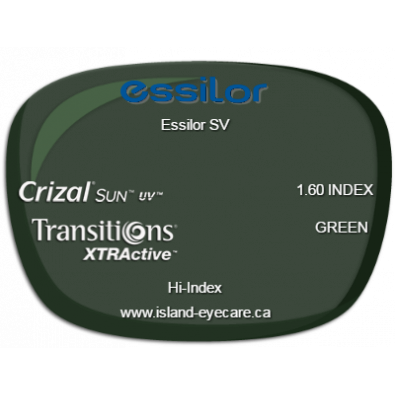 Essilor SV 1.60 Crizal Sun UV Transitions XTRActive - Green