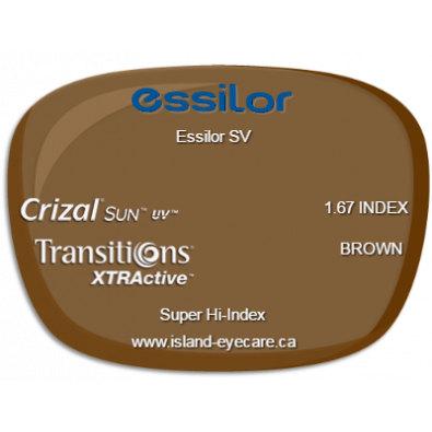 Essilor SV 1.67 Crizal Sun UV Transitions XTRActive - Brown