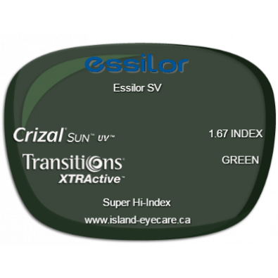 Essilor SV 1.67 Crizal Sun UV Transitions XTRActive - Green