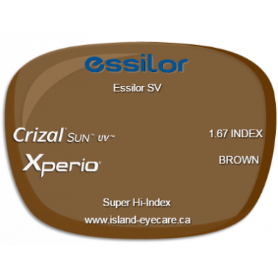 Essilor SV 1.67 Crizal Sun UV Xperio - Brown