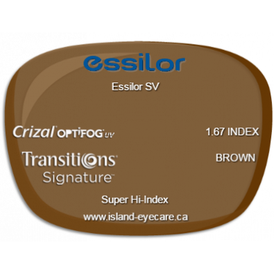 Essilor SV 1.67 Crizal UV with Optifog Transitions Signature - Brown