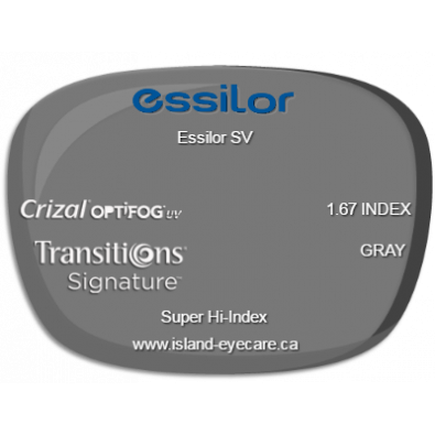 Essilor SV 1.67 Crizal UV with Optifog Transitions Signature - Gray