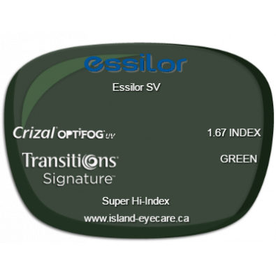 Essilor SV 1.67 Crizal UV with Optifog Transitions Signature - Green