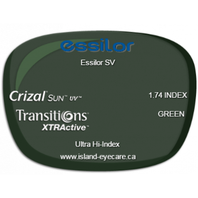 Essilor SV 1.74 Crizal Sun UV Transitions XTRActive - Green