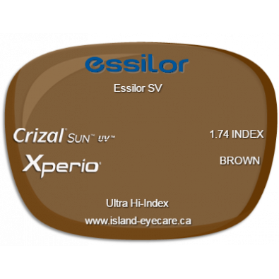 Essilor SV 1.74 Crizal Sun UV Xperio - Brown