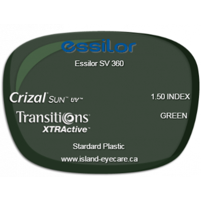 Essilor SV 360 1.50 Crizal Sun UV Transitions XTRActive - Green