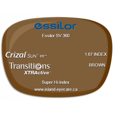 Essilor SV 360 1.67 Crizal Sun UV Transitions XTRActive - Brown