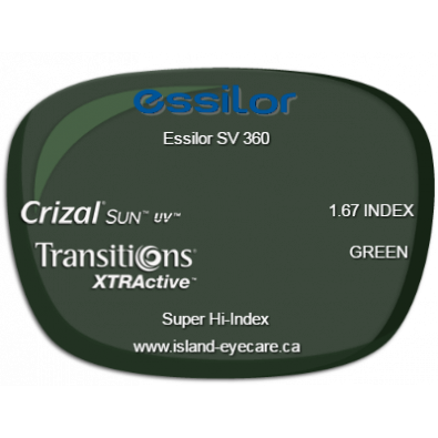 Essilor SV 360 1.67 Crizal Sun UV Transitions XTRActive - Green
