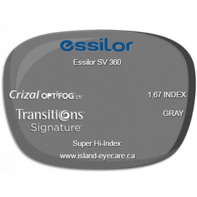 Essilor SV 360 1.67 Crizal UV with Optifog Transitions Signature - Gray