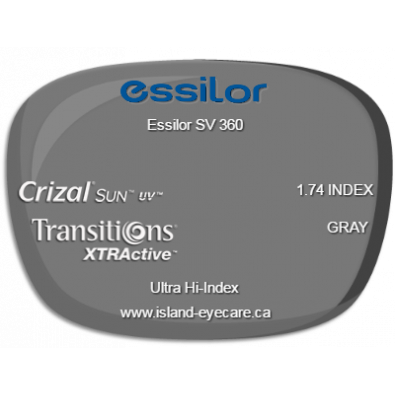 Essilor SV 360 1.74 Crizal Sun UV Transitions XTRActive - Gray