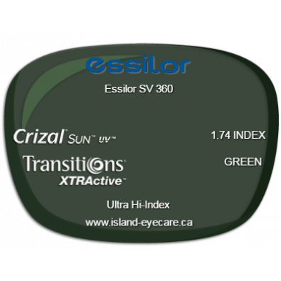Essilor SV 360 1.74 Crizal Sun UV Transitions XTRActive - Green
