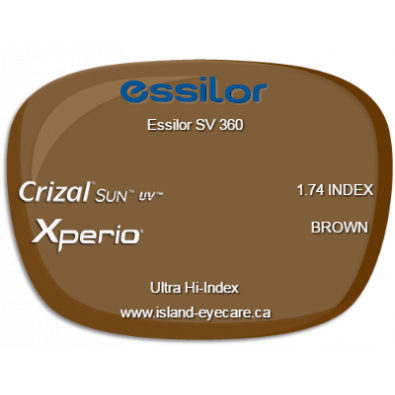 Essilor SV 360 1.74 Crizal Sun UV Xperio - Brown