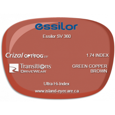 Essilor SV 360 1.74 Crizal UV with Optifog Transitions Drivewear  - Green Copper Brown