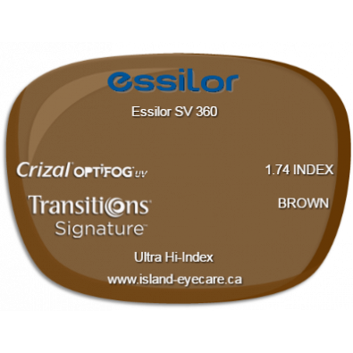 Essilor SV 360 1.74 Crizal UV with Optifog Transitions Signature - Brown