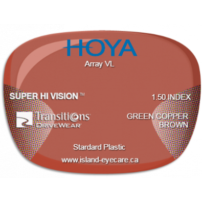 Hoya Array VL 1.50 Super Hi Vision Transitions Drivewear  - Green Copper Brown