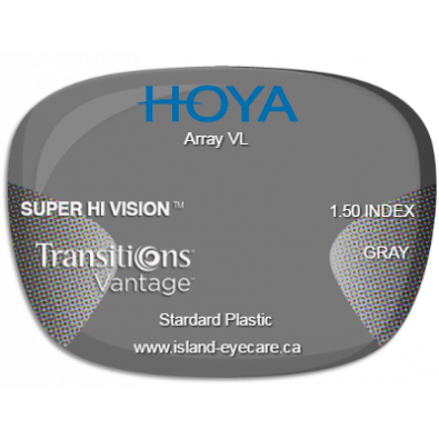 Hoya Array VL 1.50 Super Hi Vision Transitions Vantage - Gray