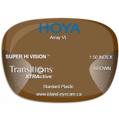 Hoya Array VL 1.50 Super Hi Vision Transitions XTRActive - Brown