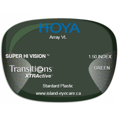 Hoya Array VL 1.50 Super Hi Vision Transitions XTRActive - Green