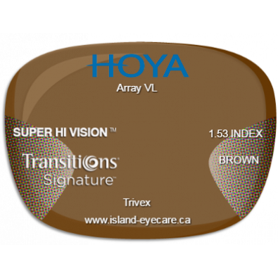 Hoya Array VL Trivex Super Hi Vision Transitions Signature - Brown