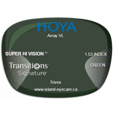 Hoya Array VL Trivex Super Hi Vision Transitions Signature - Green