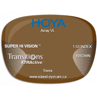 Hoya Array VL Trivex Super Hi Vision Transitions XTRActive - Brown